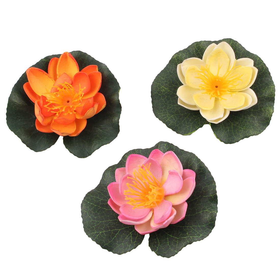 Unique BargainsAquarium Fish Bowl Artificial Float Lotus Aquatic Plant Flower Decoration 3 Pcs