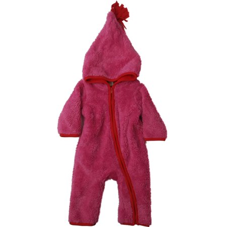 Pink Baby Prams - Infant Girls Plush Hot Pink Red Accent Fuzzy Pram Suit Hooded Baby Bunting