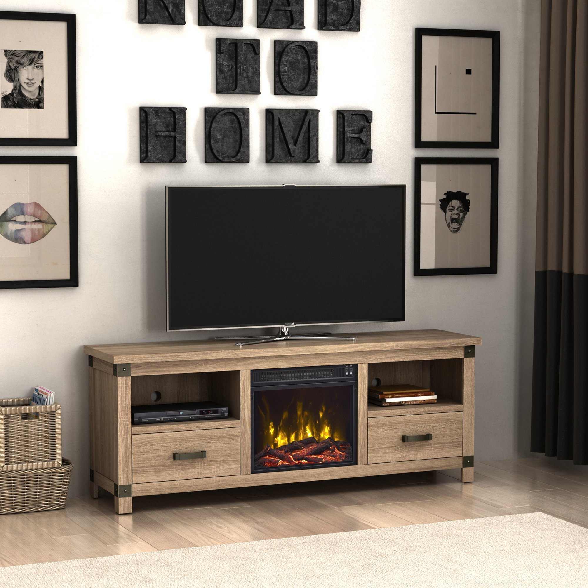 "Croxley Minden Oak TV Stand for TVs up to 70"" with Electric Fireplace and Drawers"
