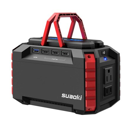 SUAOKI Portable Power Station 150Wh Quiet Gas Free Solar Generator QC3.0 UPS Lithiium Power Supply with Dual 110V AC Outlet, 4 DC Ports, 4 USB Ports, LED Flashlights for Camping Travel CPAP Emergency ()