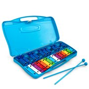 Gymax 25 Notes Kids Glockenspiel Chromatic Metal Xylophone w/ Blue Case and 2 Mallets