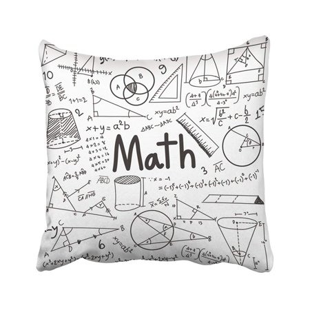 BSDHOME Math Theory And Mathematical Formula Equation Doodle Handwriting In White With Model Pillowcase 20x20 inch - image 1 of 1