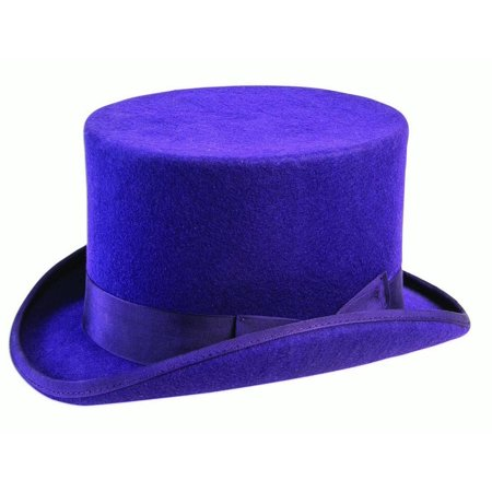 Super Deluxe Purple Mens Adult Willy Wonka Costume Top Hat (Willy Wonka Costume Women)