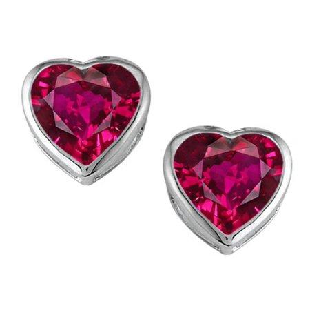 Star K 7mm Heart Shape Created Ruby Heart Earrings Studs in Sterling Silver