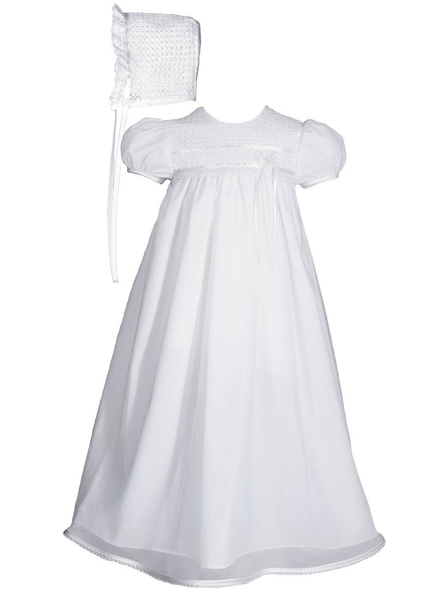 "Girls 25"" Cotton Broadcloth Christening Gown with Tricot Overlay and Lace Bonnet"
