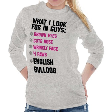 Brisco Brands Looking For English Bulldog Ladies Long Sleeve