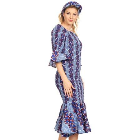 Sakkas Zarah Women's African Ankara Body-con Off shoulder Mermaid Pocket Dress - 45-Multi -