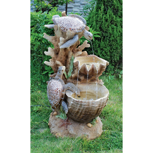 Wildon Home Resin Turtle Cove Cascading Sculptural Fountain with LED Light by
