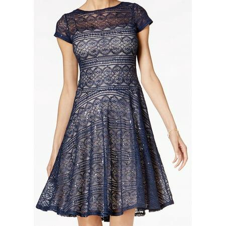 (Sangria NEW Blue Womens Size 4P Petite Sequin Lace Illusion A-Line Dress)