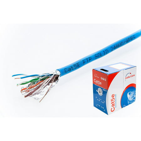 1000ft CAT5e FTP Shielded Solid 350Mhz Ethernet LAN Cable 24AWG RJ45 Network Wire Bulk Cat5 (Shielded (FTP), Blue)