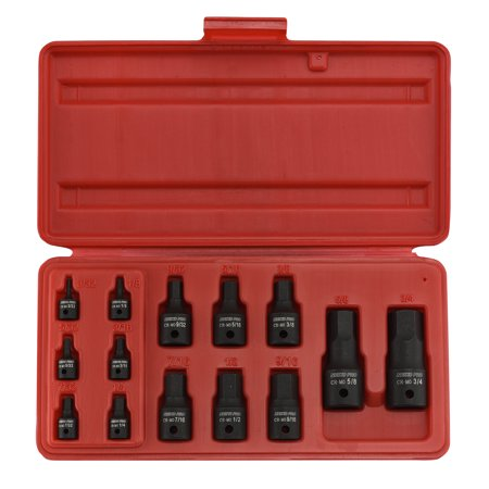 Neiko 01142B SAE Impact Hex Socket Set with Storage Case, 14 Piece, Industrial Grade | Cr-Mo Steel