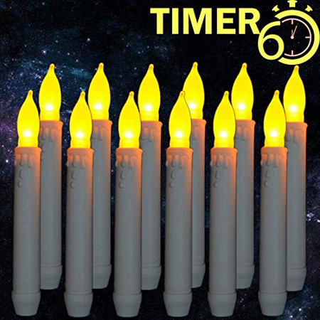 Window Candles with Timers,Led Battery Operated Flameless Taper Candles for Halloween&Christmas&Birthday&Harry Potter Party ThemedDecorations Supplies-12 Packs