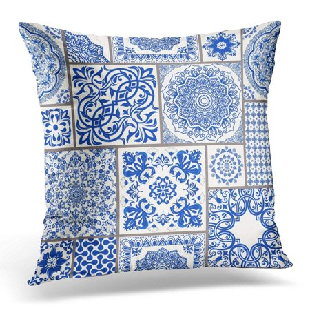 Majolica Pottery - USART Patchwork with Victorian Motives Majolica Pottery Blue and White Azulejo Original Traditional Portuguese Pillow Cover 16x16 Inches Throw Pillow Case Cushion Cover