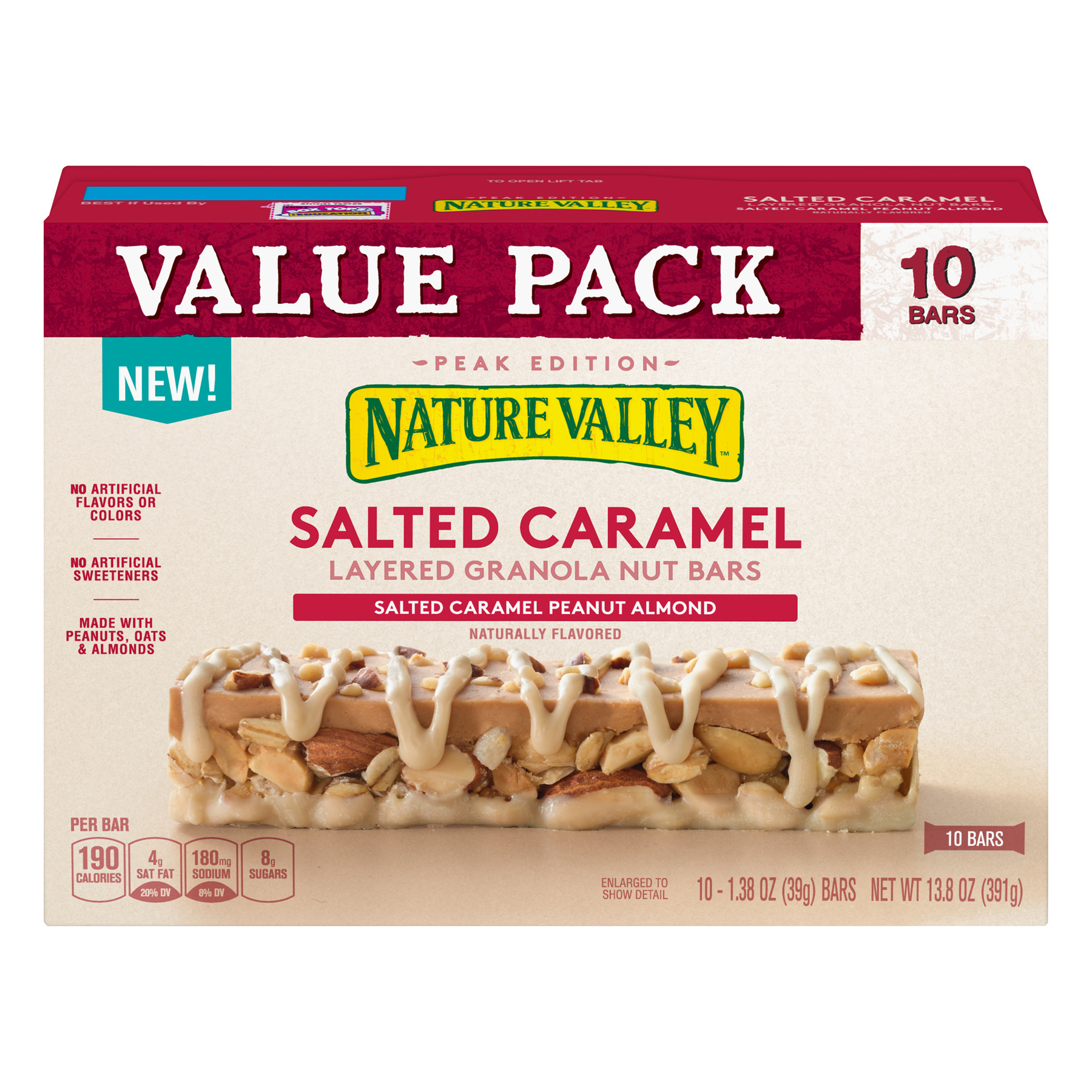 Nature Valley Layered Bars Salted Caramel Value Pack 10 ct, 13.8 oz