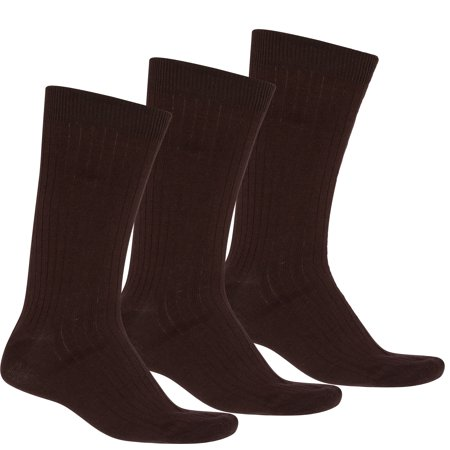 Sakkas Men's Cotton Blend Ribbed Dress Socks - Brown 3-Pack Cotton Blend Dress Socks