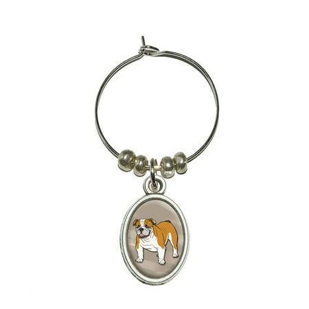 English Bulldog - Pet Dog Oval Wine Glass Charm
