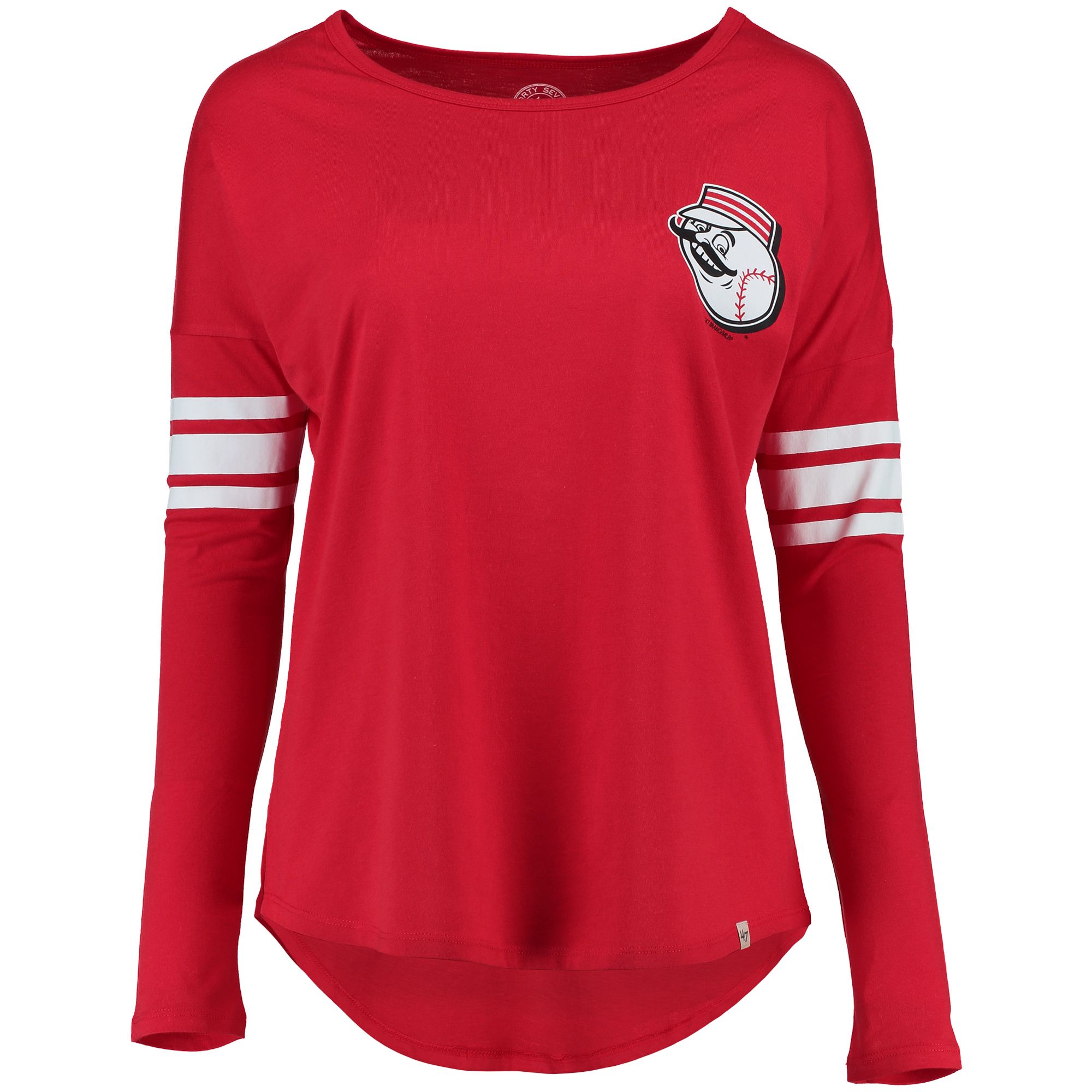 Cincinnati Reds '47 Women's Ultra Courtside Long Sleeve T-Shirt Red by TWINS ENTERPRISE INC/47 BRAND