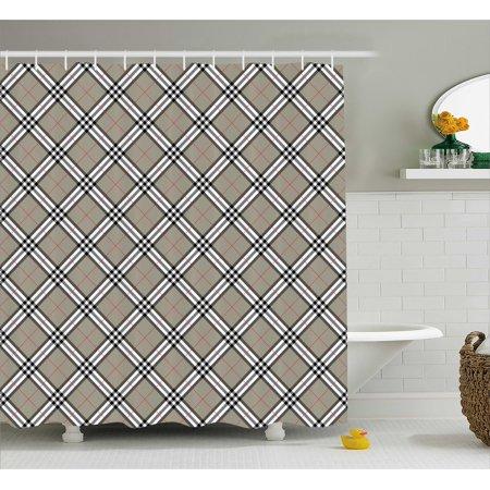 Abstract Shower Curtain Royal Scottish Tartan Featured Ethnic Tribal Aristocrat Medieval Design Fabric Bathroom