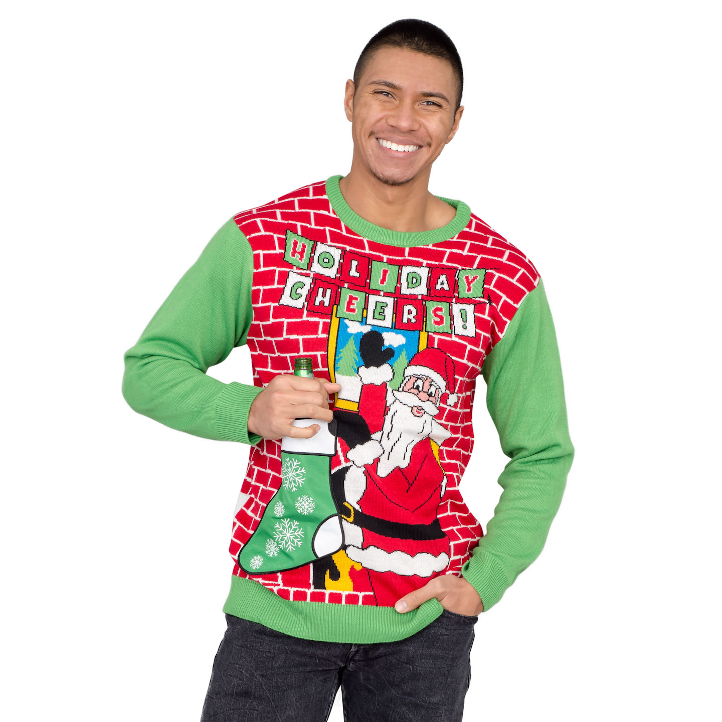 3x Ugly Christmas Sweater.Holiday Cheers Santa With Beer Holder Socks Adult Ugly Christmas Sweater 3x Large