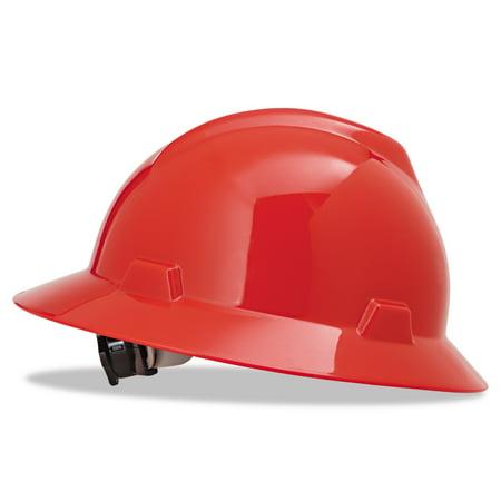 MSA V-Gard Full-Brim Hard Hats, Ratchet Suspension, Size 6 1/2 - 8, Red - Mining Hard Hats
