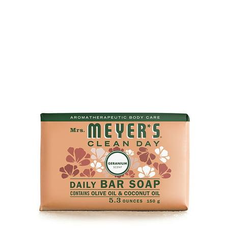 (3 pack) Mrs. Meyer's Daily bar soap, Geranium, 5.3