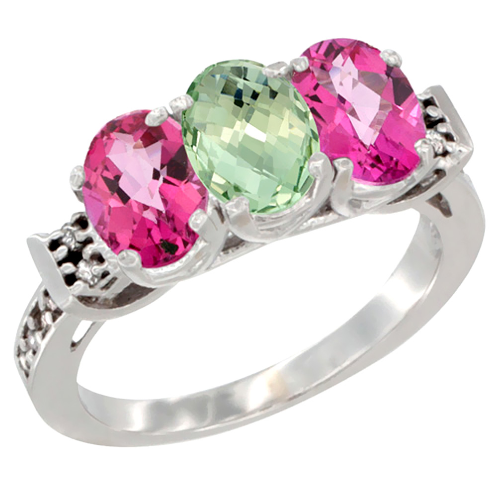 10K White Gold Natural Green Amethyst & Pink Topaz Sides Ring 3-Stone Oval 7x5 mm Diamond Accent, sizes 5 10 by WorldJewels