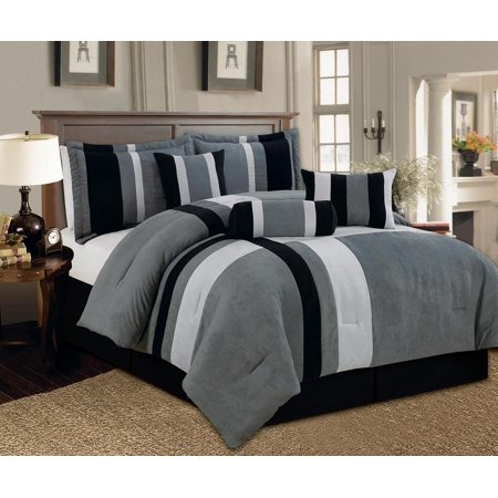 Aberdeen Queen Size 7-Piece Luxurious Comforter Set Micro Suede Soft Bed in a Bag Patchwork Black Gray & White
