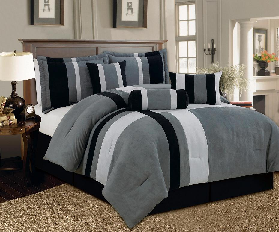 Aberdeen California King Size 7 Piece Luxurious Comforter Set Micro Suede  Soft Bed In A