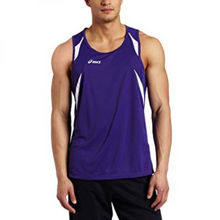 (ASICS Men's Interval Singlet, Purple/White, X-Large)