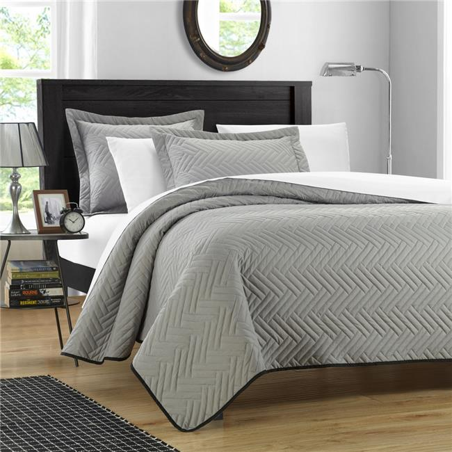 Chic Home QS3250-US Mateo Chevron Blocks Quilt Set - Silver - King - 3 Piece
