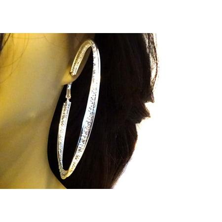 Large Channel Set Crystal Twisted Silver Tone Hoop Earrings 4 inch Hoops