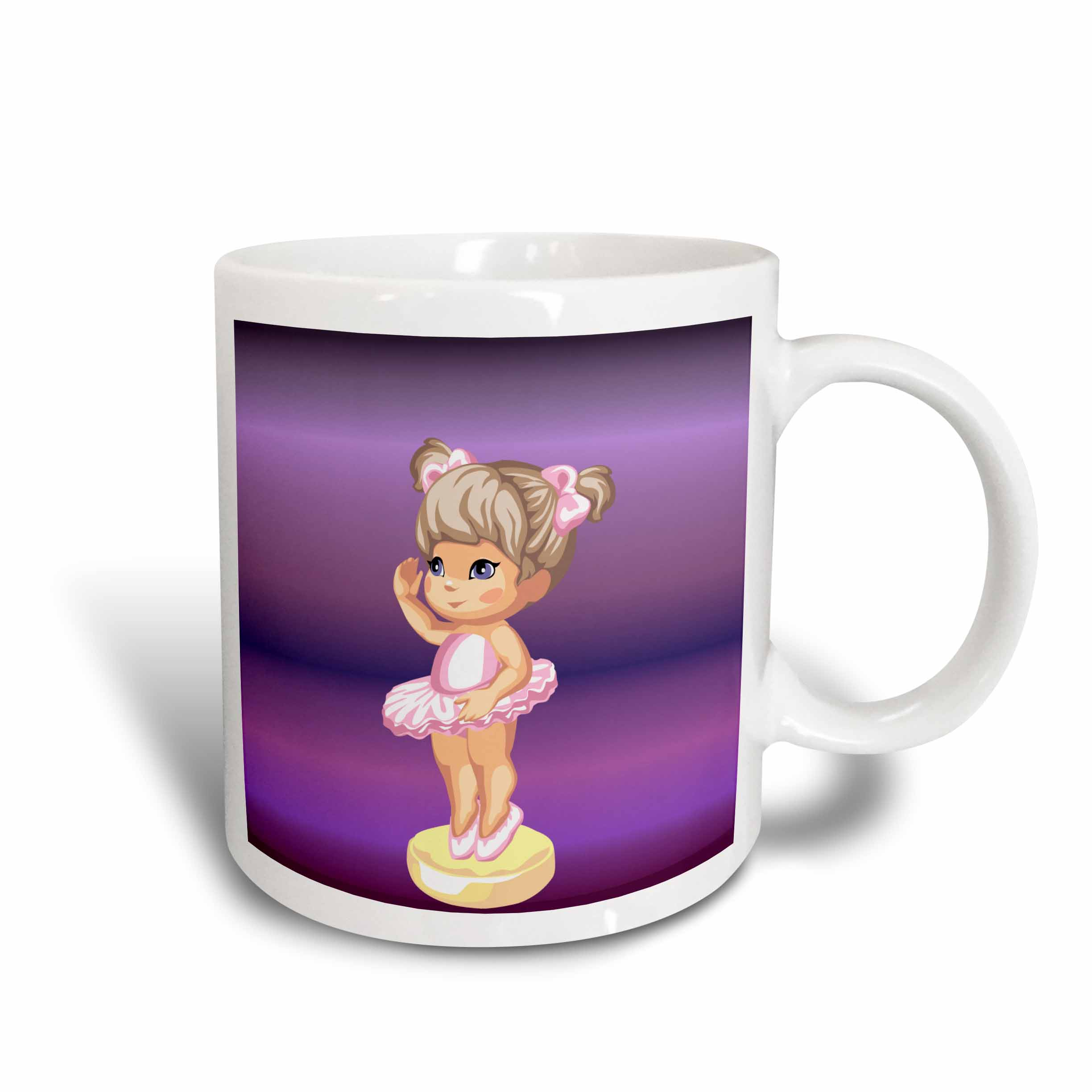 3dRose Little Ballerina on Purple Background, Ceramic Mug, 11-ounce