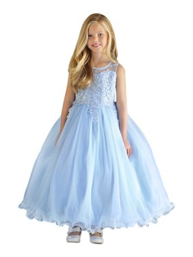 Angels Garment Little Girls Blue Satin Layered Tulle Flower Girl Dress 3-6