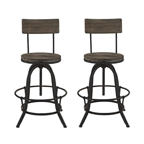 Modway Procure Modern Industrial Bar Stool, Set of 2, Multiple Colors