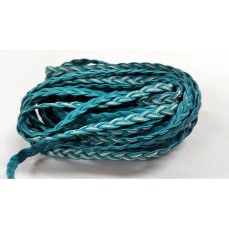5 YARDS - 5MM Turquoise Blue Herringbone Style Woven Braided Flat Faux Leather Cord BC0005