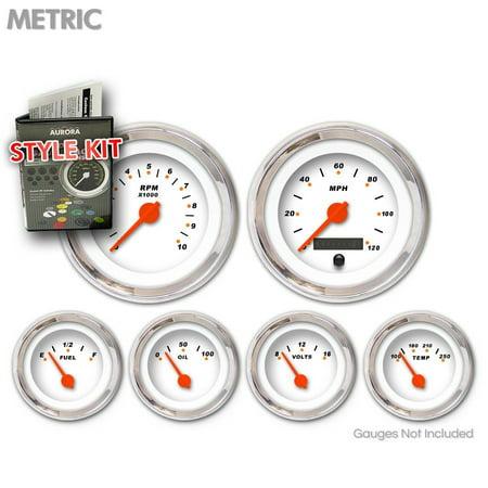 Style Kit - Metric Modern Rodder White , Orange Vintage Needles, Chrome Trim