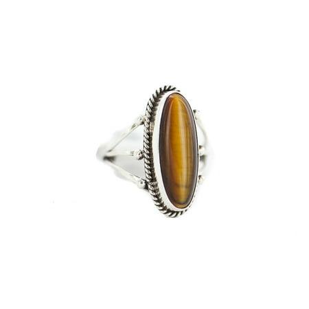 250 Retail Tag .925 Sterling Silver Navajo Authentic Handmade Made by Randall Dalgai Natural Tigers Eye Native American Ring size 6 - Nature Tiger Eye