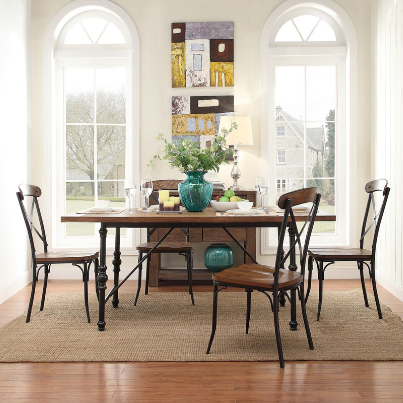 Weston Home 5 Piece Industrial Dining Set with X-Back Chairs