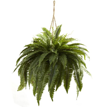Double Hanging - Nearly Natural Double Giant Boston Fern Hanging Silk Plant