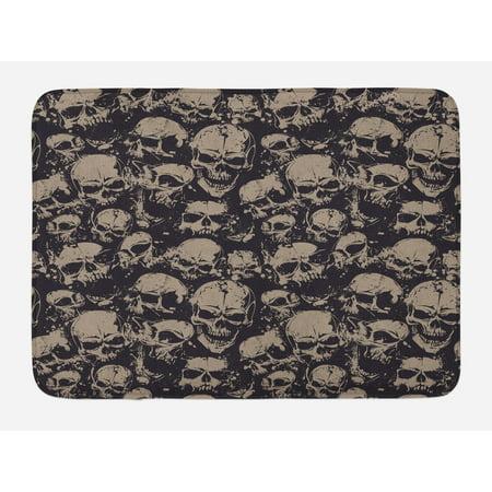 Skull Bath Mat, Grunge Scary Skulls Sketchy Graveyard Death Evil Face Horror Theme Design, Non-Slip Plush Mat Bathroom Kitchen Laundry Room Decor, 29.5 X 17.5 Inches, Charcoal Grey Tan, - Horror Decor