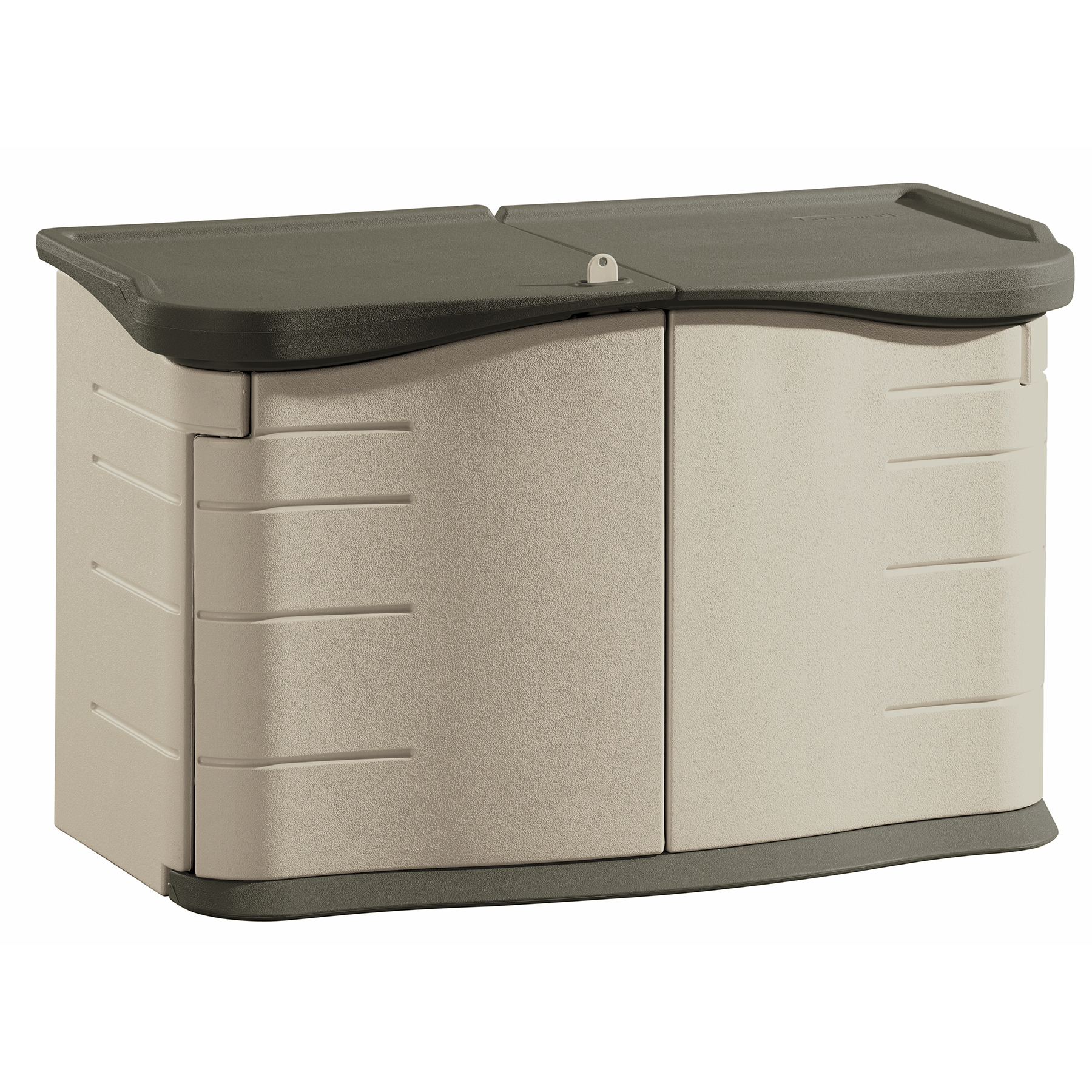 "Rubbermaid FG375301OLVSS 3' 11"" W X 1' 9"" D X 2' 5"" H Split Lid Shed"