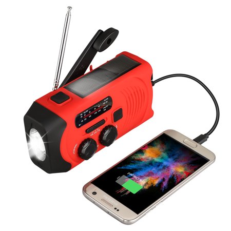 Emergency Weather Radio AM/FM/NOAA Solar Crank Radio with Bright Flashlight, SOS Alarm and 2000mAh Power Bank for Household, Emergency and Outdoor Activies All Weather Flashlight