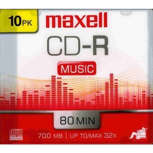 Maxell 40x Music CD-R Media - 700MB - 10 Pack