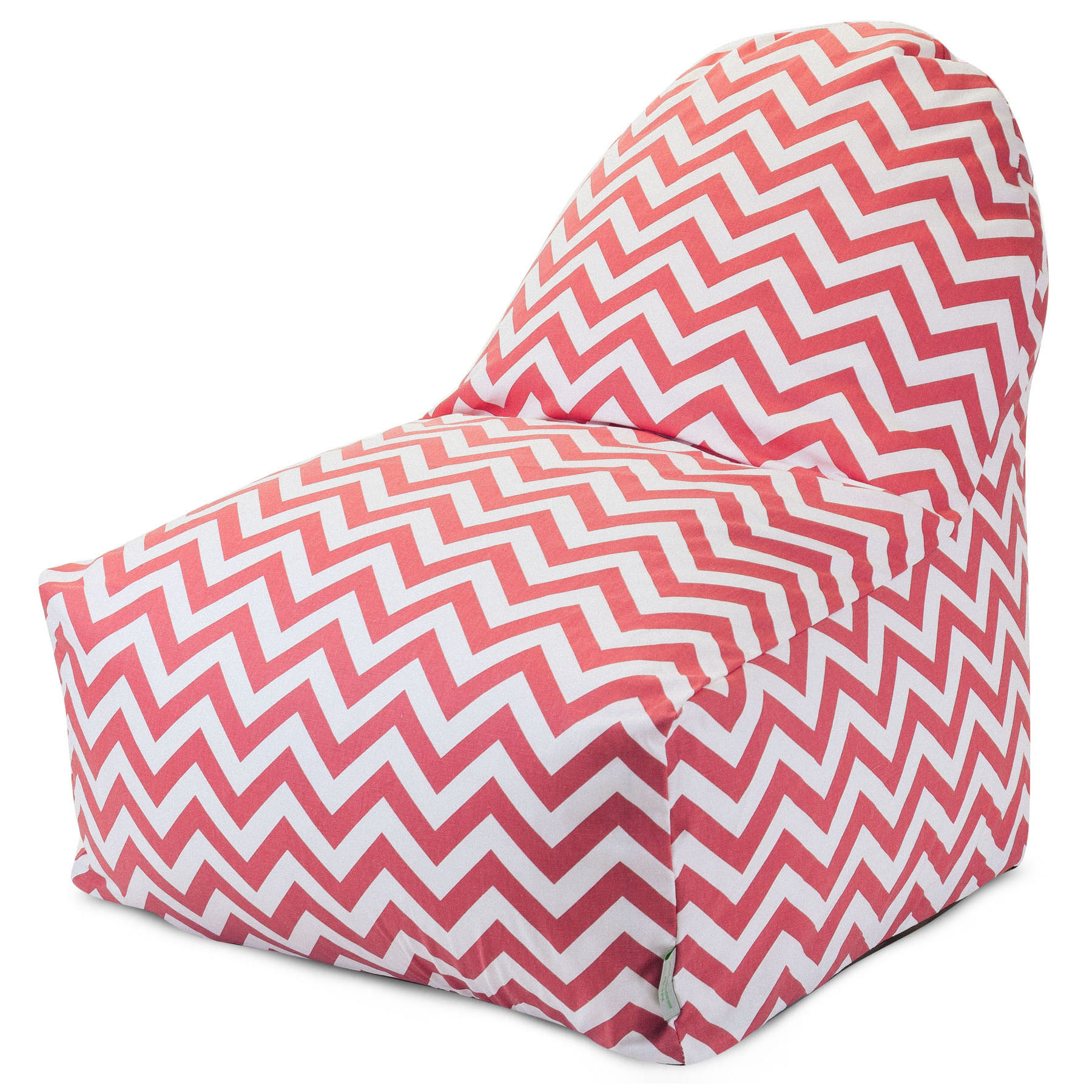 Majestic Home Goods Indoor Coral Chevron Bean Bag Kick-it Chair 30 in L x 26 in W x 30 in H