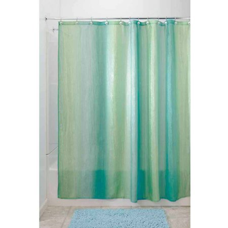 InterDesign Ombre Fabric Shower Curtain 54 X 78 Blue Green
