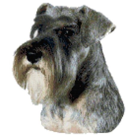 - Miniature Schnauzer Euro Dog Portrait Counted Cross Stitch Pattern