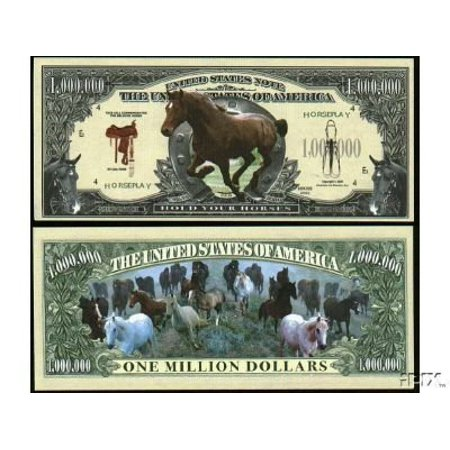 Wild Horse Million Dollar Bill With Bill Protector  By The Millions Club