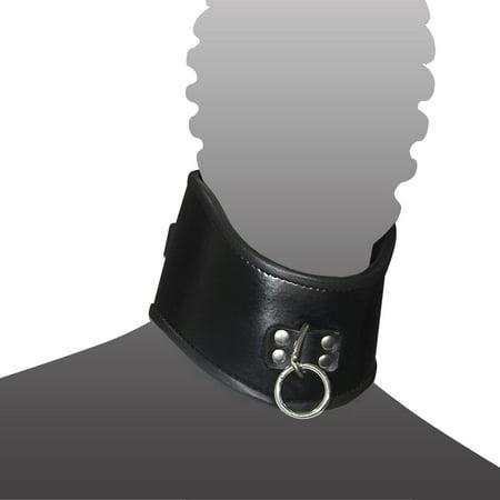 Bondage Neck Collar Genuine Real Black Leather Restraint Bondage Lockable (Real Handcuffs)