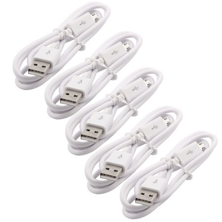 Cellphone Plastic USB 2.0 A Male to Micro B Data Charger Cable White 3.3Ft 5pcs