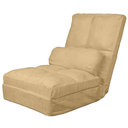Epic Furnishings Cosmo Click Clack Convertible Futon Pillow Top Flip Chair Sleeper Bed  28  Khaki